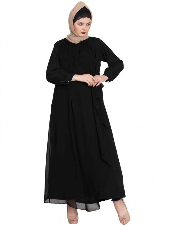 Nida Mate Abaya With Attached Georgette Layer In Black