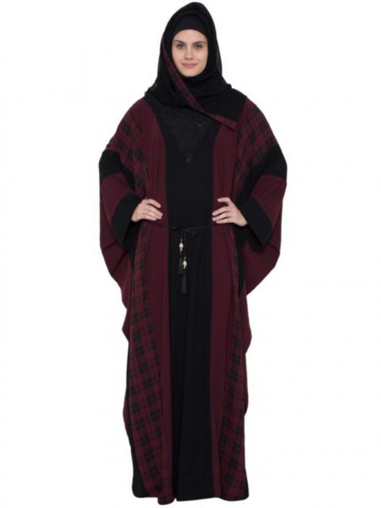 Nida Matte Trendy And Stylish Kaftan With Belt In Black And Maroon