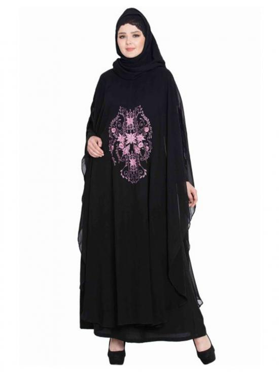 Nida Matte Embroidered Cape with Inner Abaya In Black