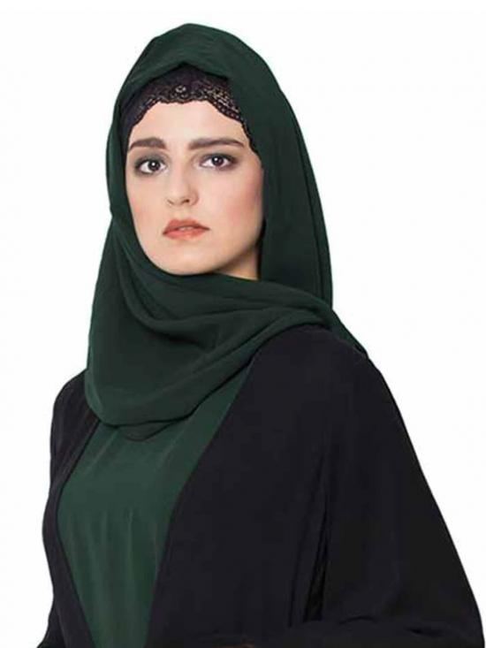 Super Fine Georgette Long And Wide Stole Hijab In Bottle Green