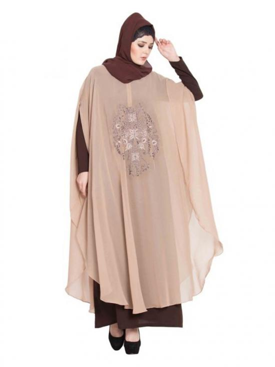 Nida Matte Embroidered Cape With Inner Abaya In Beige And Brown