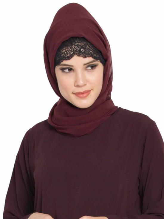 Super Fine Georgette Long And Wide Stole Hijab In Wine