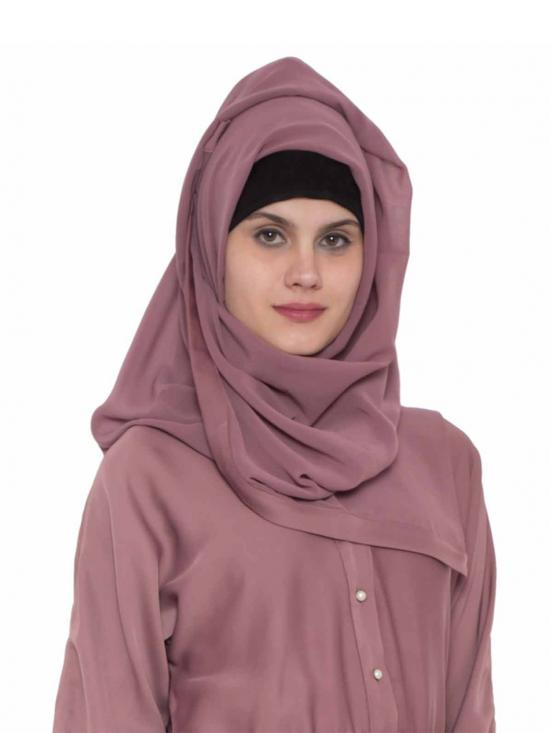 Super Fine Georgette Long And Wide Stole Hijab In Mauve