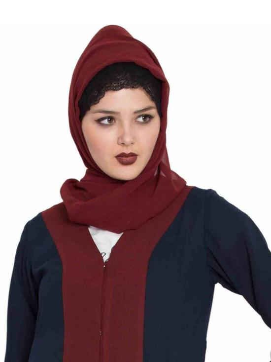 Super Fine Georgette Long and Wide Stole Hijab in Maroon