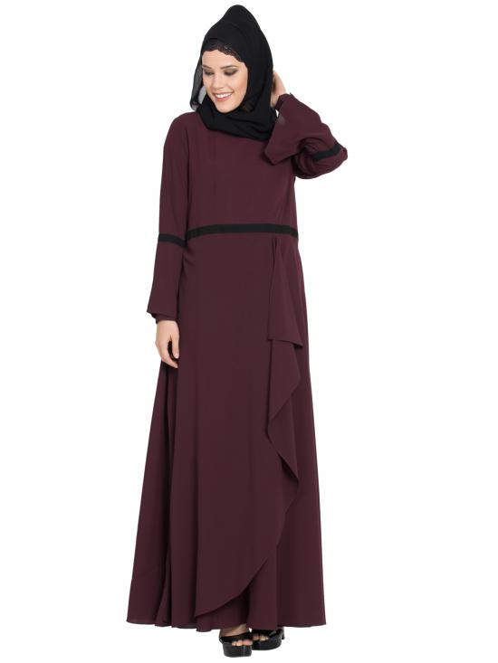 Nida Umbrella Cut Dress Abaya With Falling Panel And Bell Sleeves In Wine