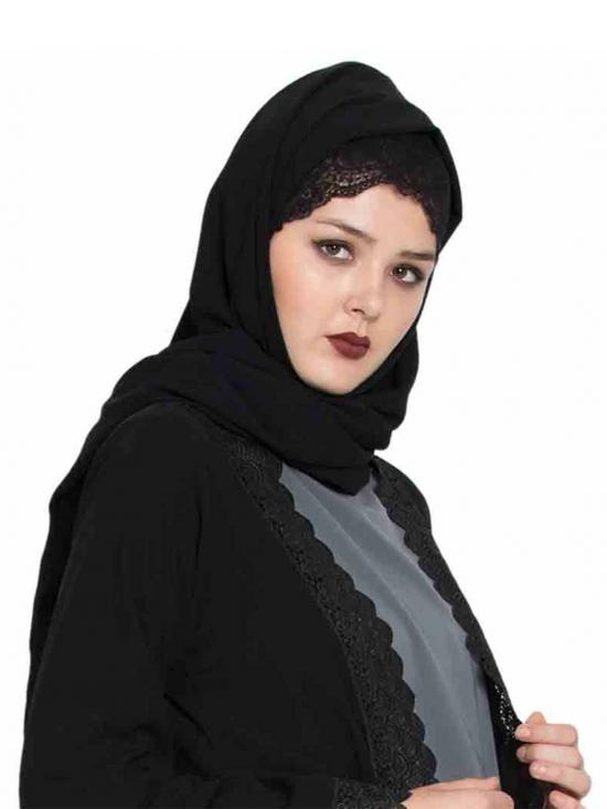 Super Fine Georgette Long And Wide Stole Hijab In Black