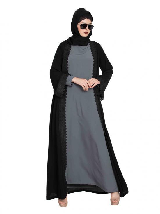 Nida Mate Elegant Shrug with lacework Abaya in Black