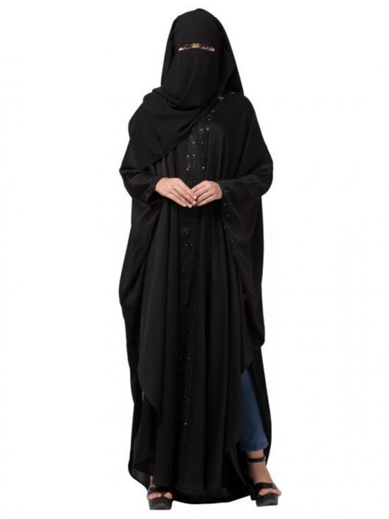 Nida Satin Naqaab And Kaftan Combo Embellished With Crystal Stones In Black