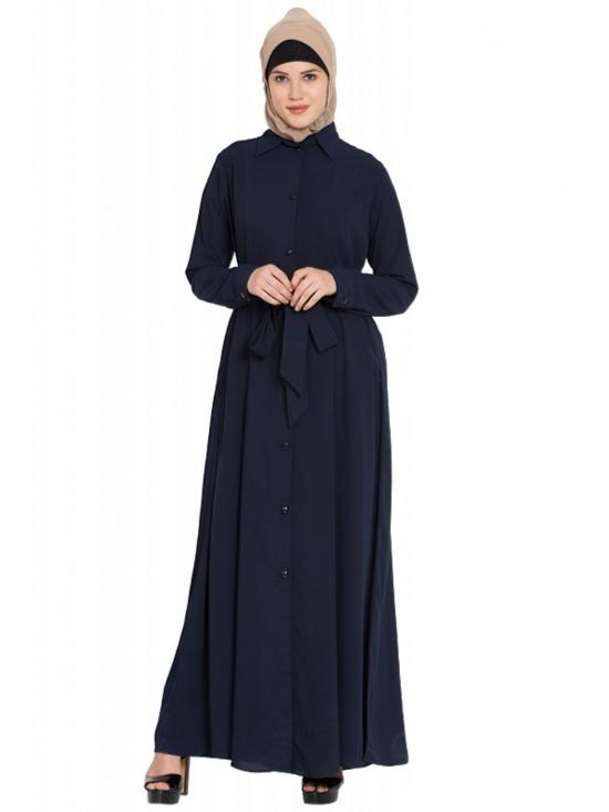 Nida Mate Front Open Abaya With Box Pleats In Navy Blue