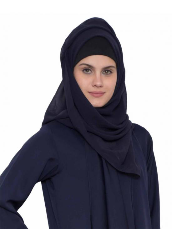 Super Fine Georgette Long And Wide Stole Hijab In Navy Blue