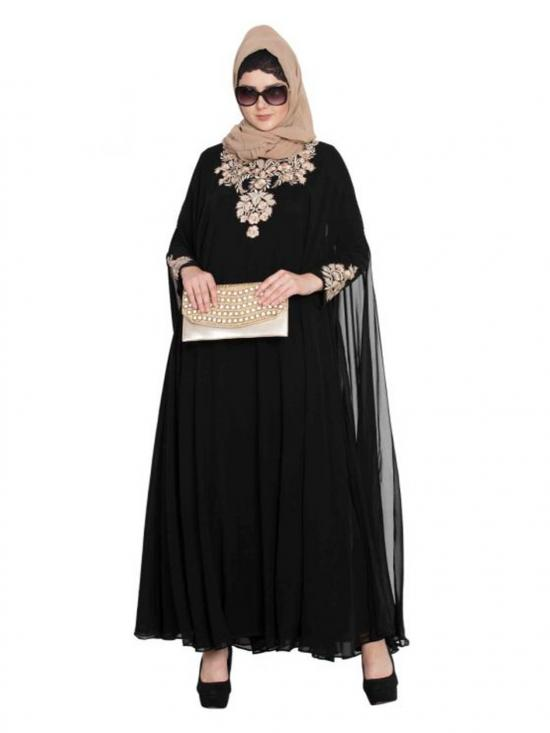 Nida Matte Designer Abaya with Embroidery on Sleeves and Yoke in Black