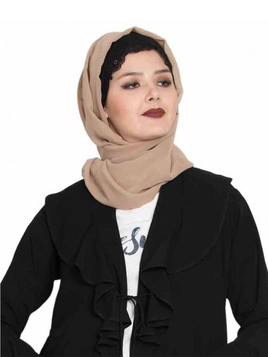 Super Fine Georgette Long and Wide Stole Hijab in Beige