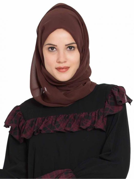 Super Fine Georgette Long And Wide Stole Hijab In Brown