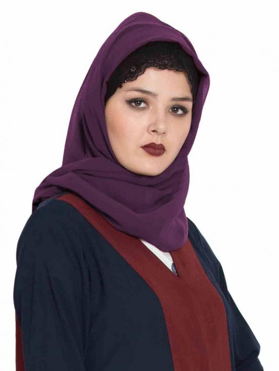 Super Fine Georgette Long And Wide Stole Hijab In Purple