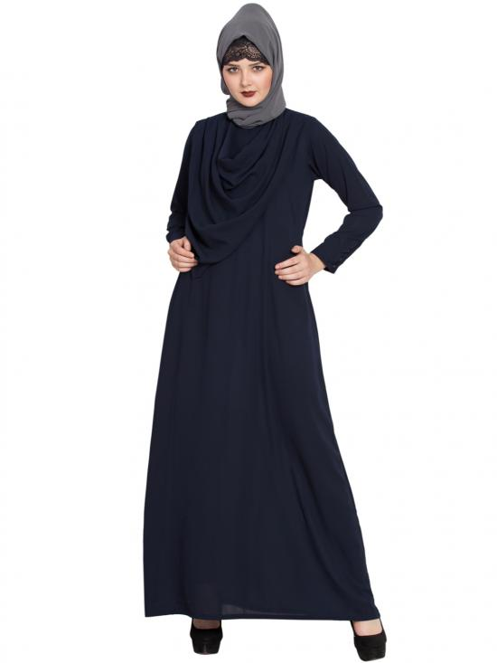 Nida Mate Modest Abaya With Attached Shawl In Navy Blue