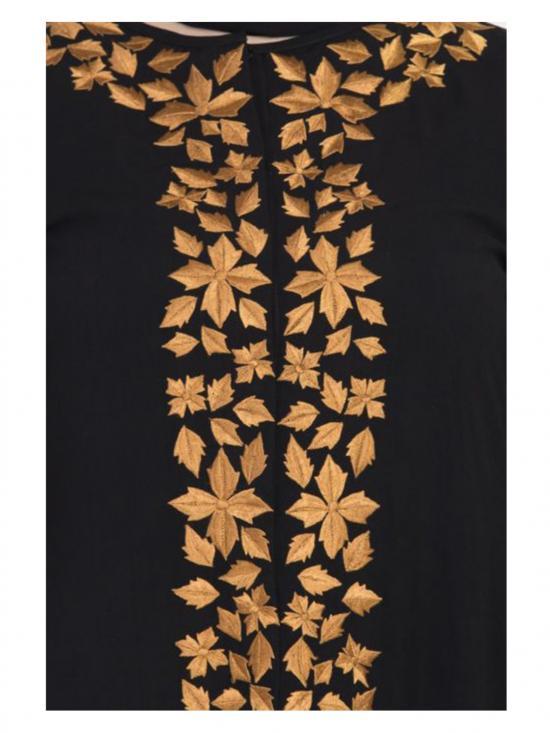 Nida Matte Golden Leaves With Embroidered Abaya In Black