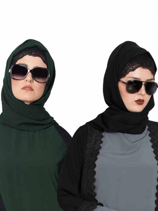 Super Fine Georgette Set Of Two Stole Hijabs In Black And Bottle Green