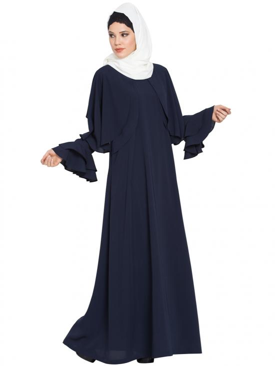 Nida Matte Designer Abaya With Cape And Bell Sleeves In Navy Blue