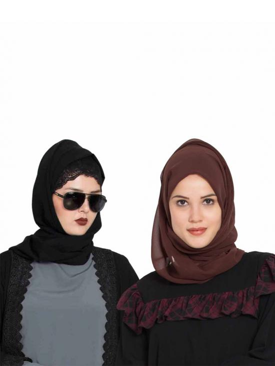 Super Fine Georgette Set Of Two Stole Hijabs In Black And Brown