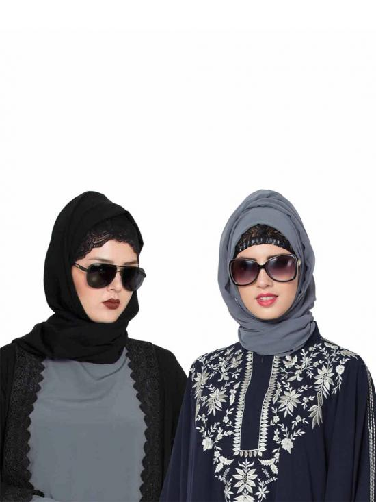 Super Fine Georgette Set Of Two Stole Hijabs In Black And Grey
