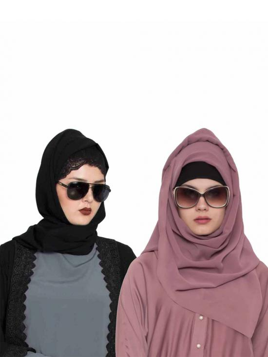Super Fine Georgette Set Of Two Stole Hijabs In Black And Mauve