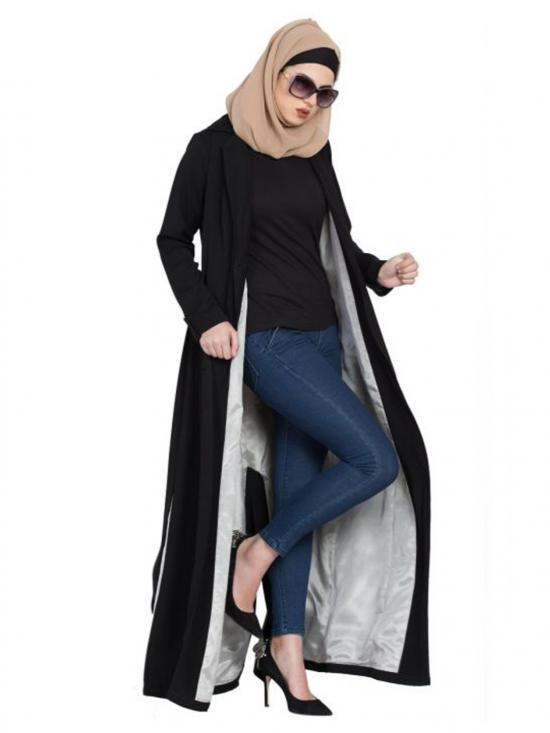 Poly Twill Winter Coat Abaya In Black