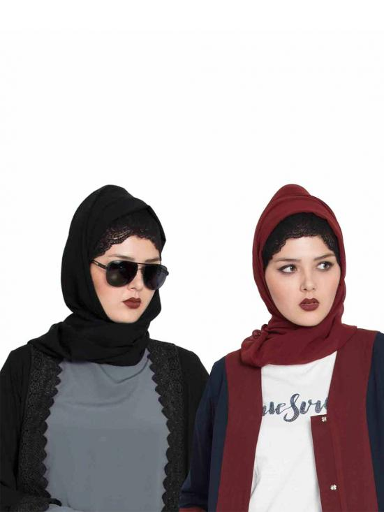 Set Of Two Stole Super Fine Georgette Hijabs In Black And Maroon