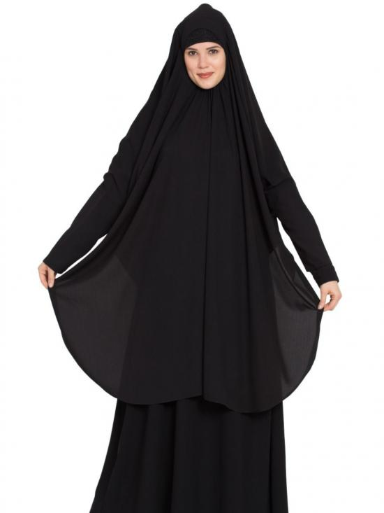 Nida Mate Khimar Long Prayer Hijab in Black