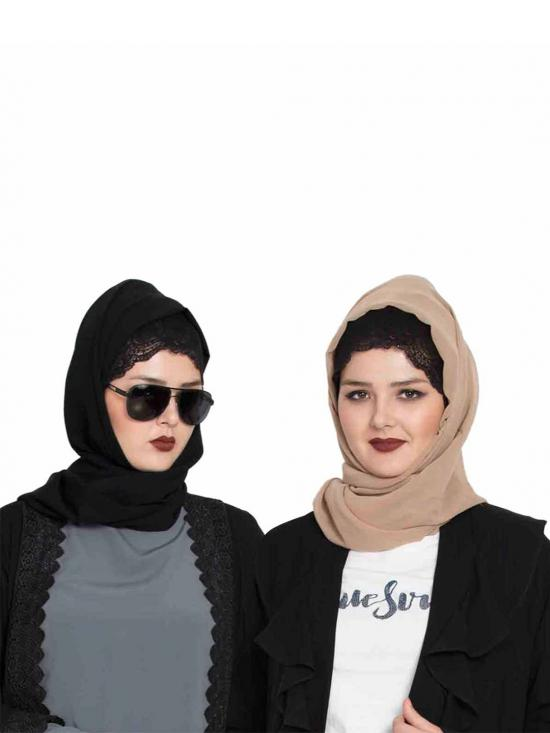 Super Fine Georgette Set Of Two Stole Hijabs In Black And Beige