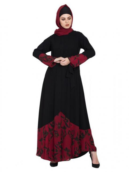 Nida Matte Front Open Abaya With Printed Georgette Panel In Black And Maroon
