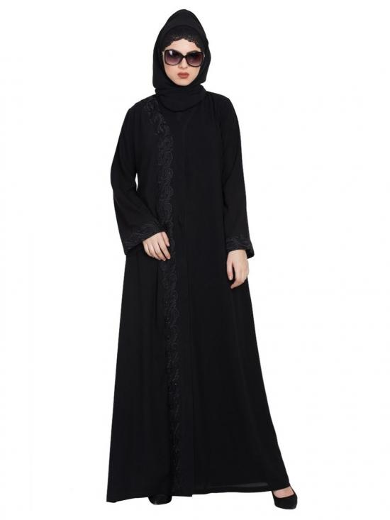 Nida Matte Front Open Embroidered Abaya With Stones In Black