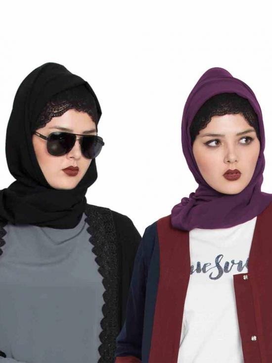 Super Fine Georgette Set Of Two Stole Hijabs In Black And Purple