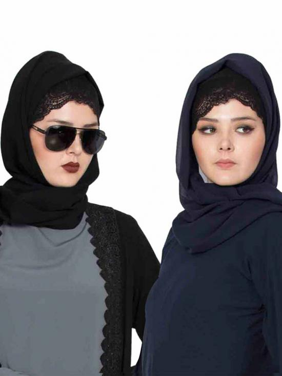 Super Fine Georgette Set Of Two Stole Hijabs In Black And Navy Blue