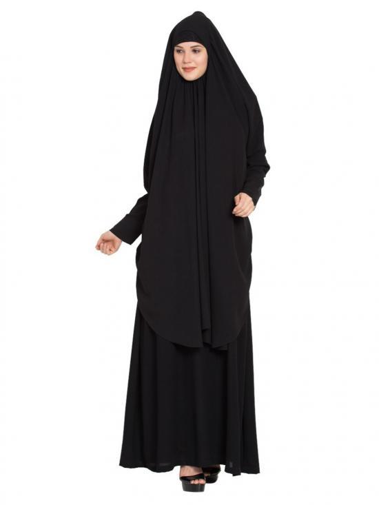 Nida Mate Two Piece Set Burqa in Black