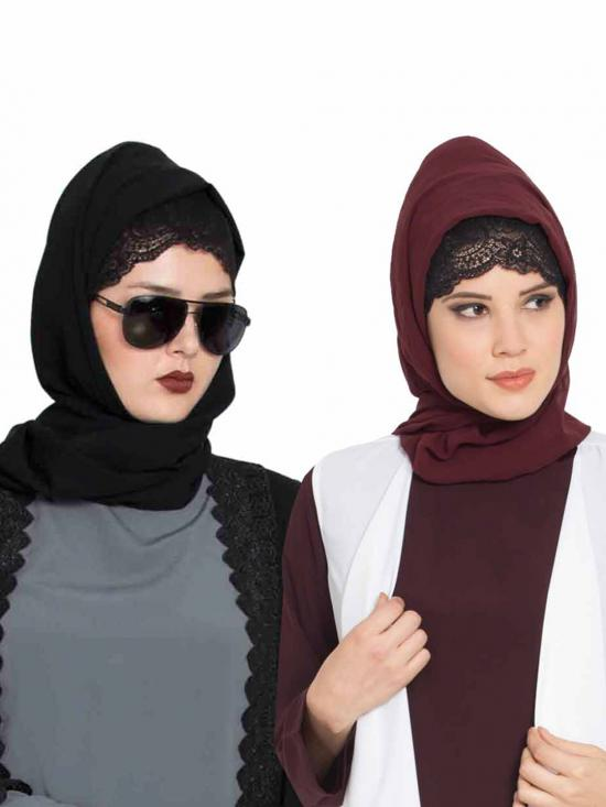 Super Fine Georgette Set Of Two Stole Hijabs In Black And Wine