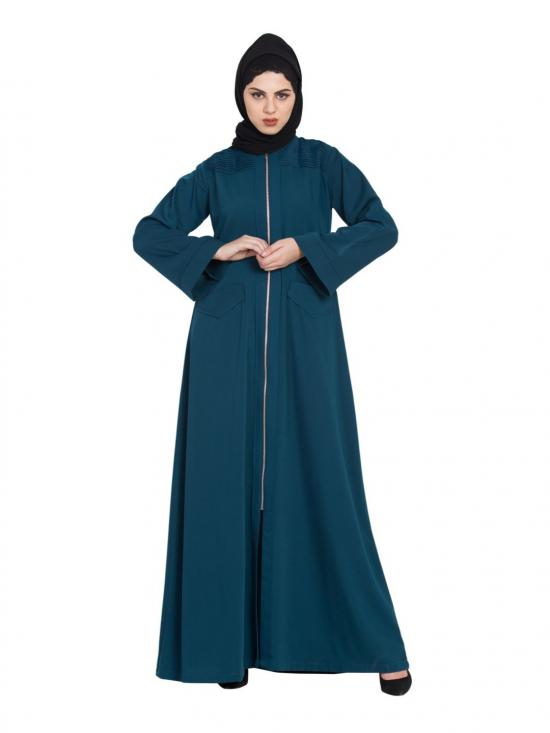 Poly Twill Long Zipper Winter Abaya In Midnight Blue