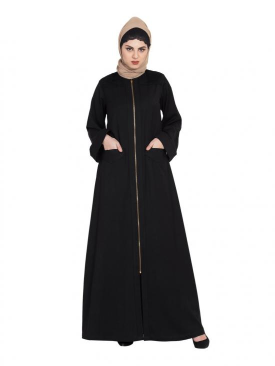 Poly Twill Long Zipper Winter Abaya In Black