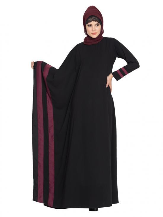 Nida Mate Faiqa Designer Kaftan in Black and Purple