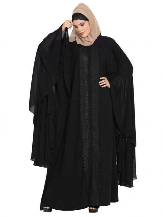 Nida Matte Designer Front Open Abaya With Giant Bell Sleeves And Lace Work In Black