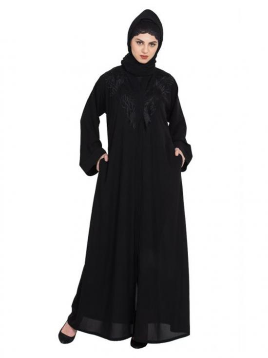 Nida Matte Charming Front Open Embroidered Abaya With Stones In Black