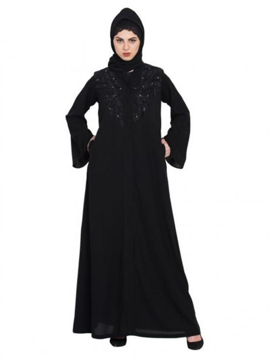 Nida Matte Front Open Simple Abaya Embroidery In Black