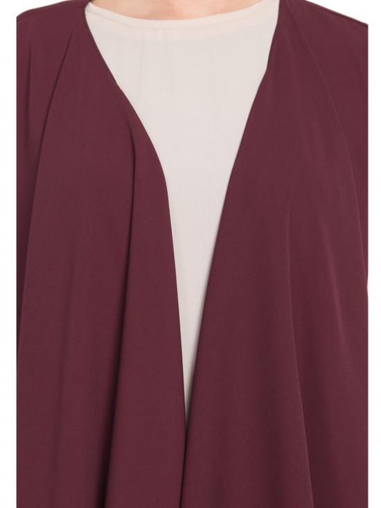 Nida Mate Two Pieces Set Abaya with Shrug in Light Beige and Wine