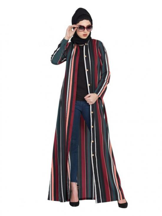 Crepe Front Open Abaya In Multicolour