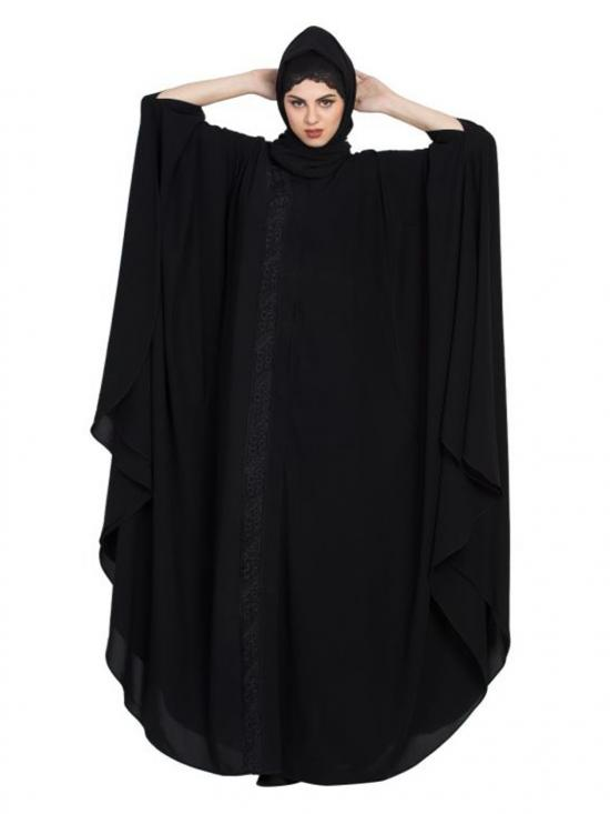 Nida Matte Gorgeous Front Open Kaftan With Embroidery In Black
