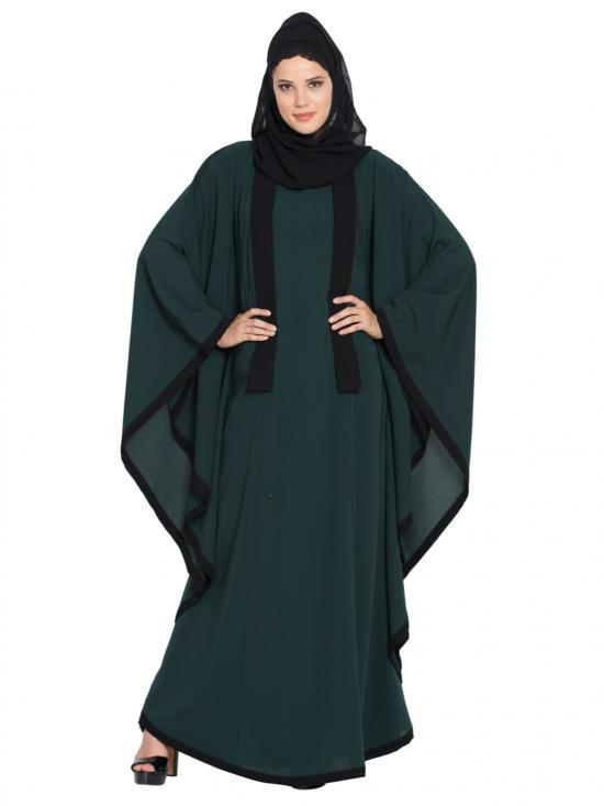 Premium Nida Kaftan With Borders In Green And Black