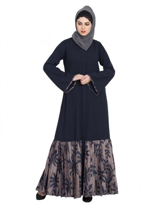 Nida Matte Front Open Printed Bottom Abaya In Blue And Grey