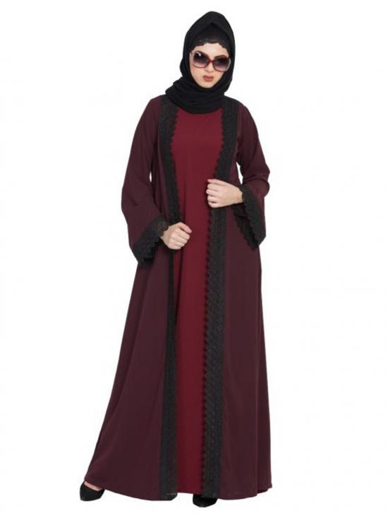 Nida Matte Shrug With Lacework Abaya In Wine