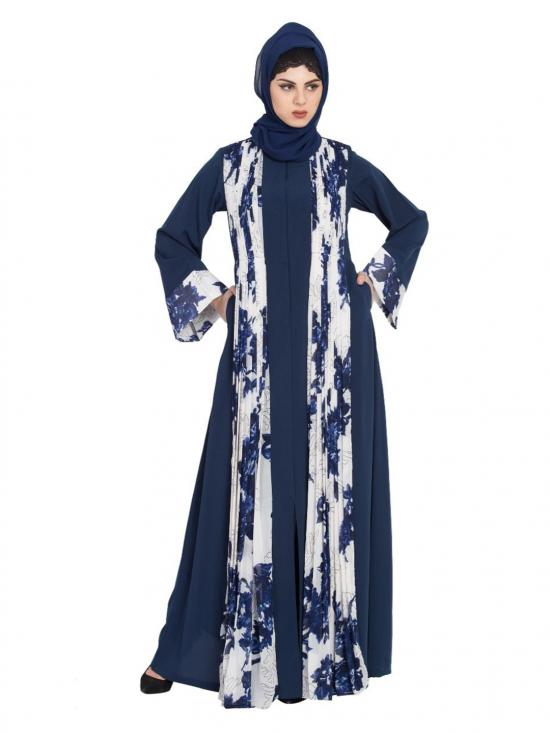 Georgette Floral Print With Front Open Designer Abaya In Blue And White