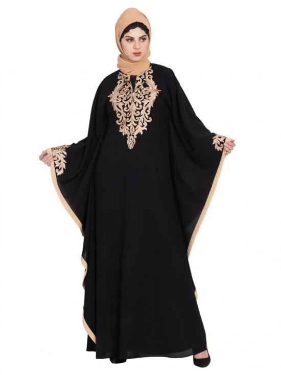 Nida Matte Golden Embroidered Farasha Kaftan In Black And Beige