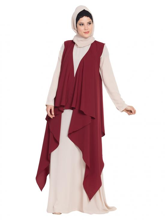 Nida Mate Aida Sleeveless Free Size Shrug In Maroon